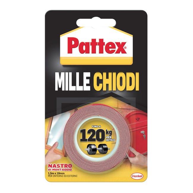 Nastro bi-adesivo PATTEX Millechiodi Tape 1.5 m x 19 mm bianco - 1
