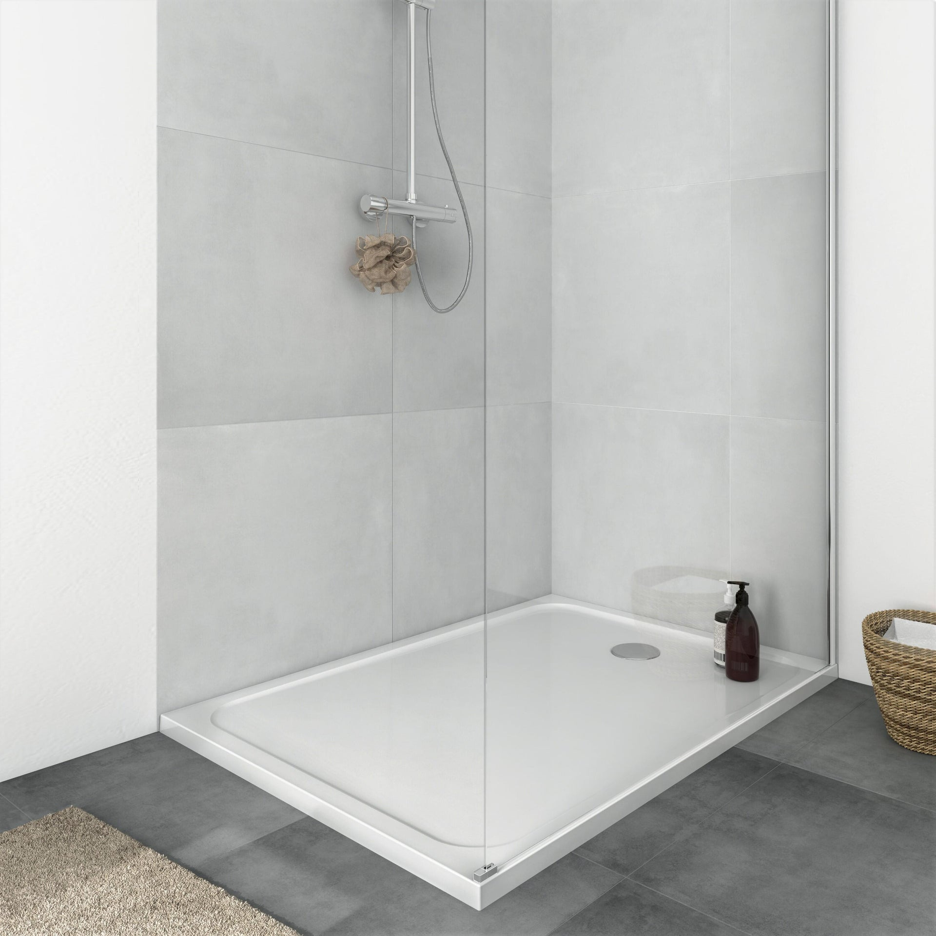 Piatto doccia resina sintetica e polvere di marmo Easy 80 x 120 cm bianco - 18