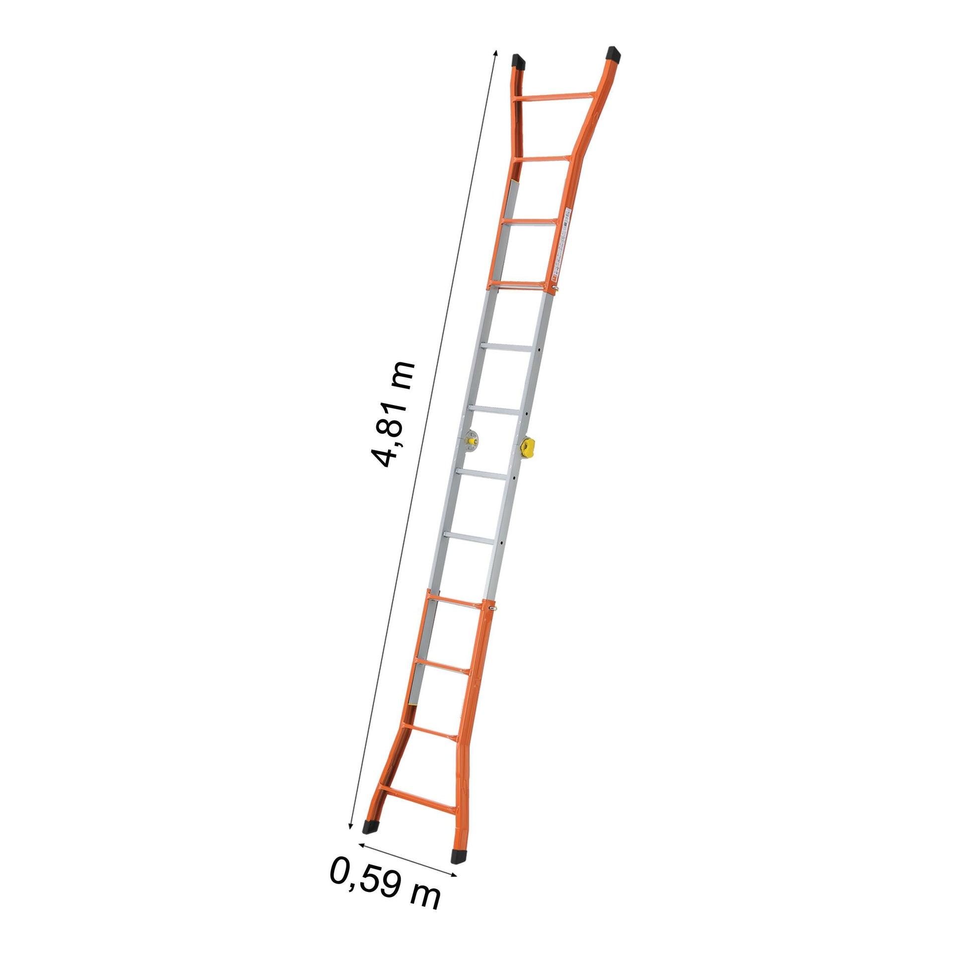 Scala telescopica GIERRE Peppina in acciaio 5+5 gradini per lavori fino a 5.7 m - 3