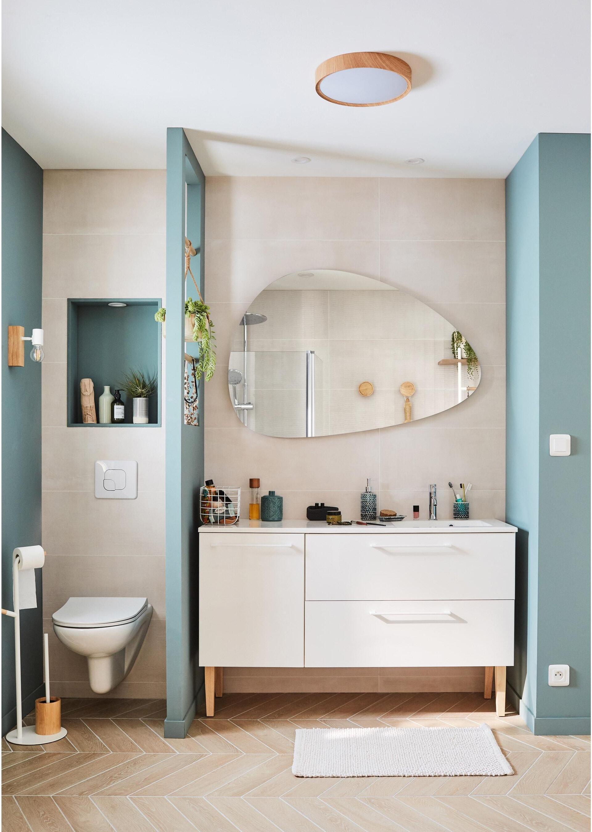 Mobile lavabo L 90 x P 48 x H 58 cm in agglomerato bianco - 4