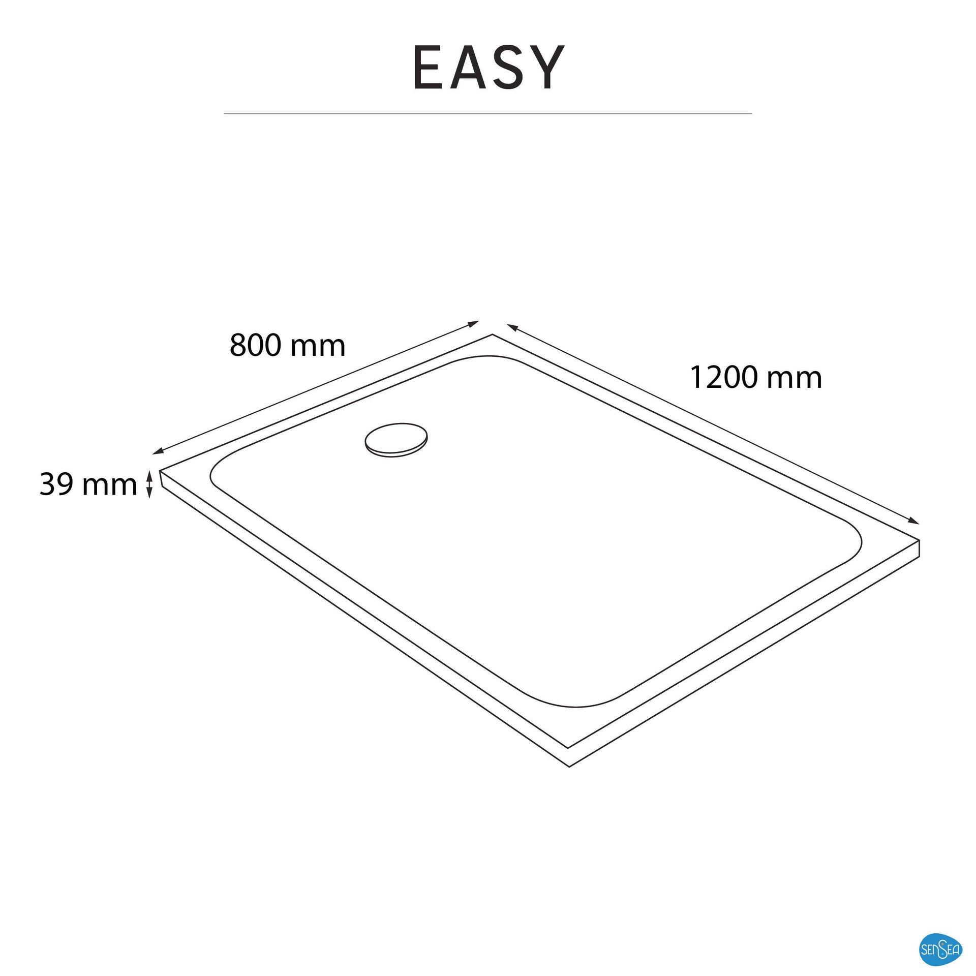 Piatto doccia resina sintetica e polvere di marmo Easy 80 x 120 cm bianco - 4