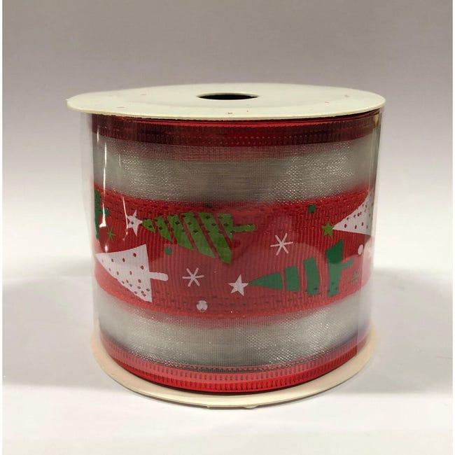 Decorazione per albero di natale in tessuto rosso biancoL 6 cm - 1
