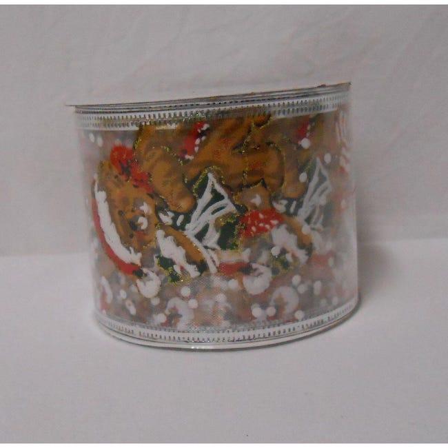Decorazione per albero di natale in tessuto trasparente verde rossoL 6.3 cm - 1