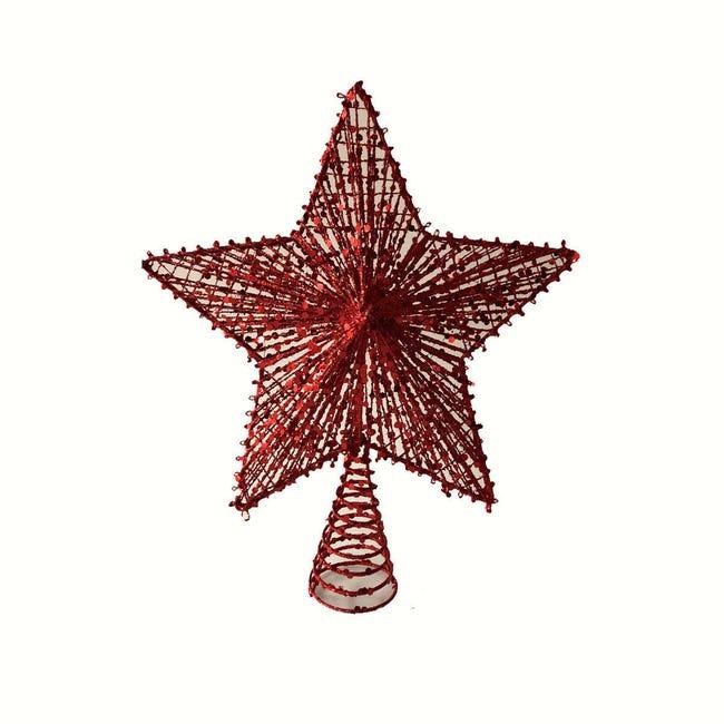 Puntale per albero di natale rossoin metallo - 1