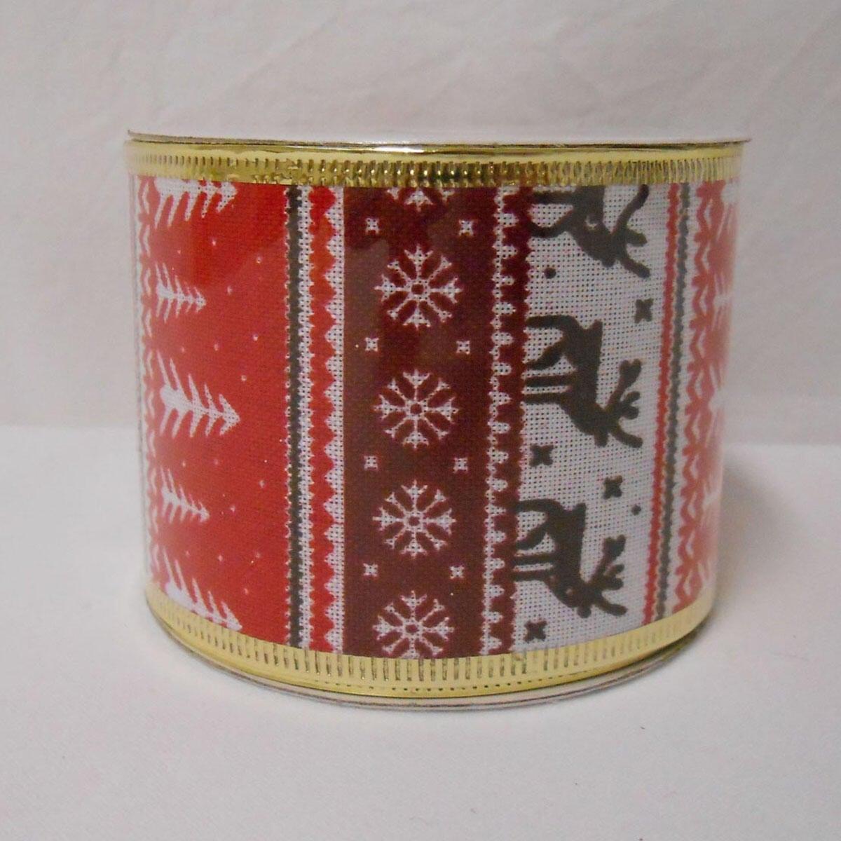 Decorazione per albero di natale in tessuto rosso biancoL 6.3 cm
