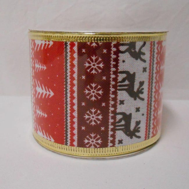 Decorazione per albero di natale in tessuto rosso biancoL 6.3 cm - 1