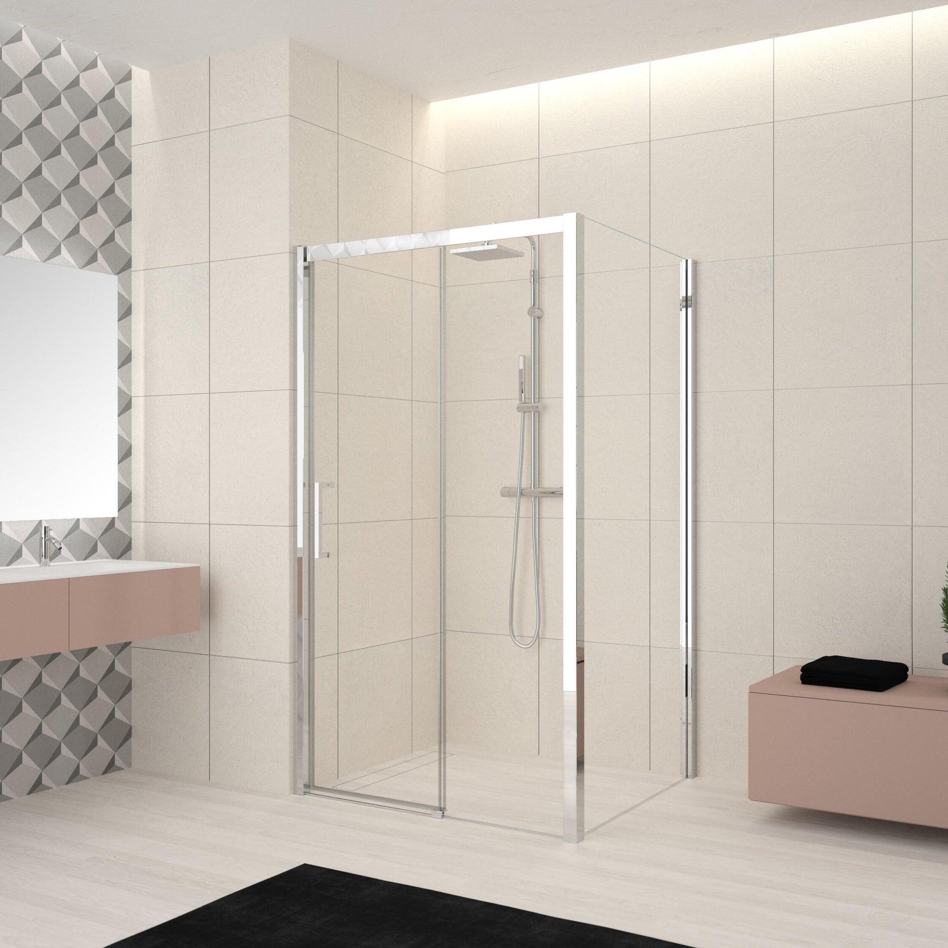 Box doccia angolare porta scorrevole e lato fisso rettangolare Lead 140 x 80 cm, H 200 cm in vetro temprato, spessore 8 mm trasparente cromato