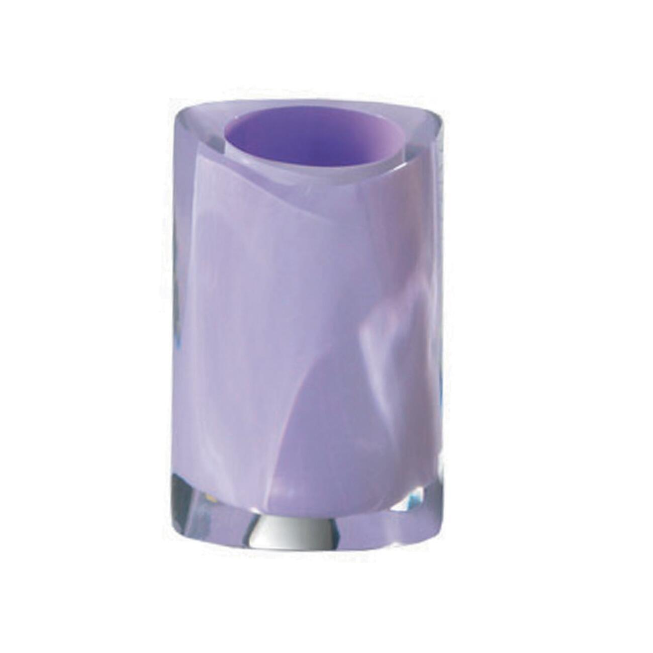 Bicchiere porta spazzolini Twist in resina lilla