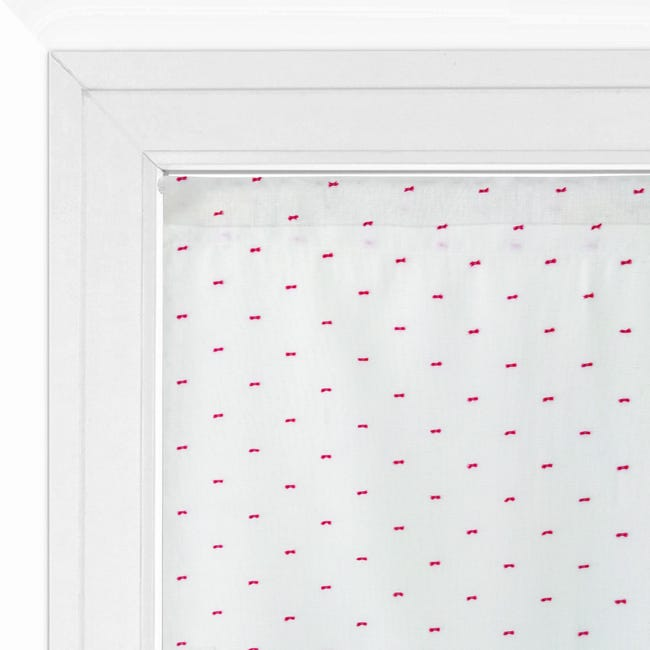 Tendina vetro Penelope bianco e rosso tunnel 60 x 150 cm - 1