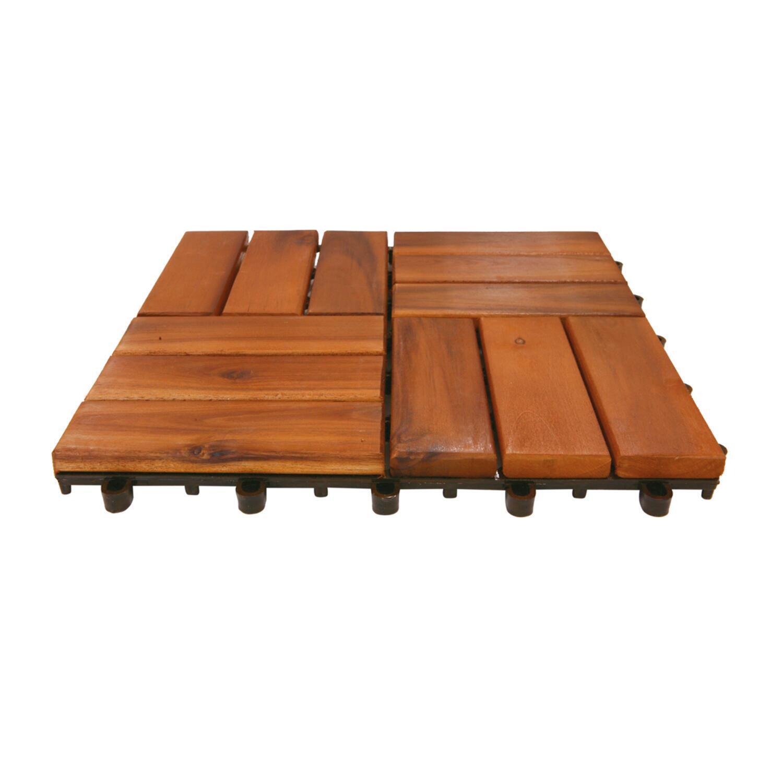 Piastrelle ad incastro ONEK in legno acacia 30 x 30 cm Sp 25 mm, marrone - 2