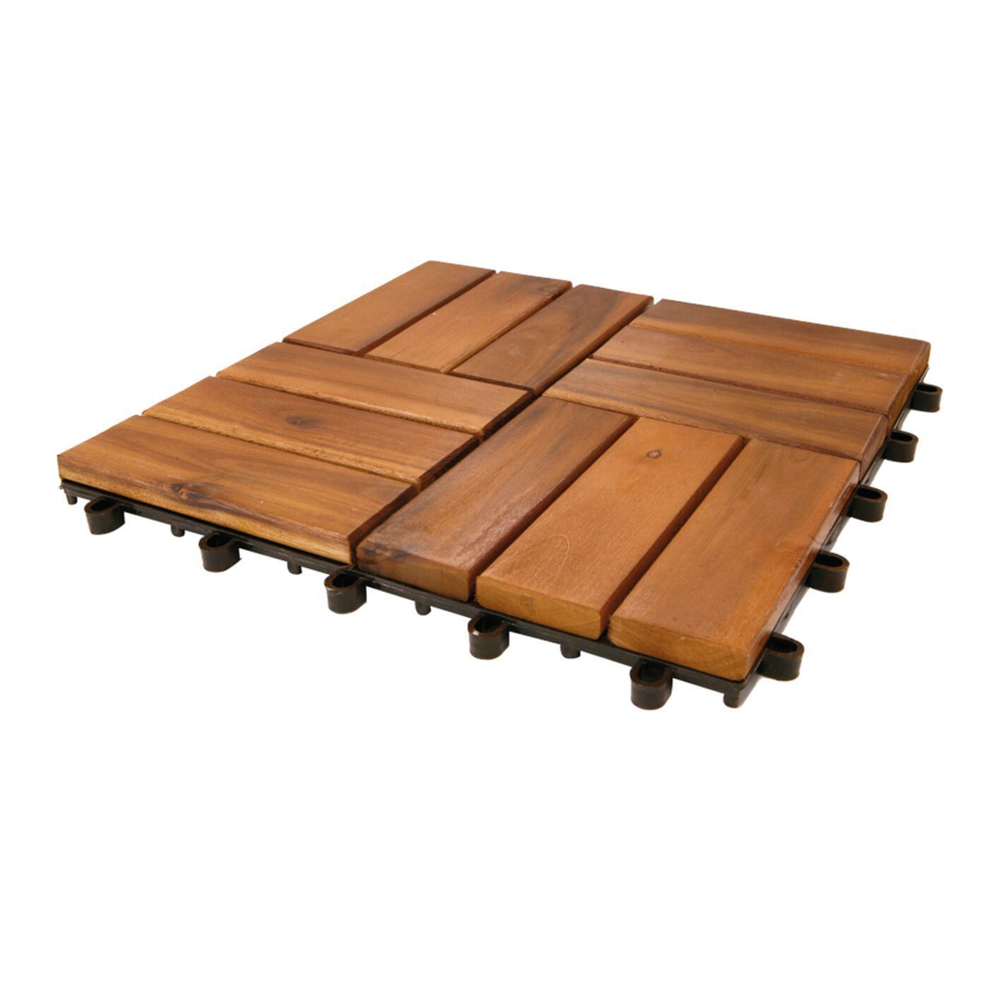 Piastrelle ad incastro ONEK in legno acacia 30 x 30 cm Sp 25 mm, marrone - 3