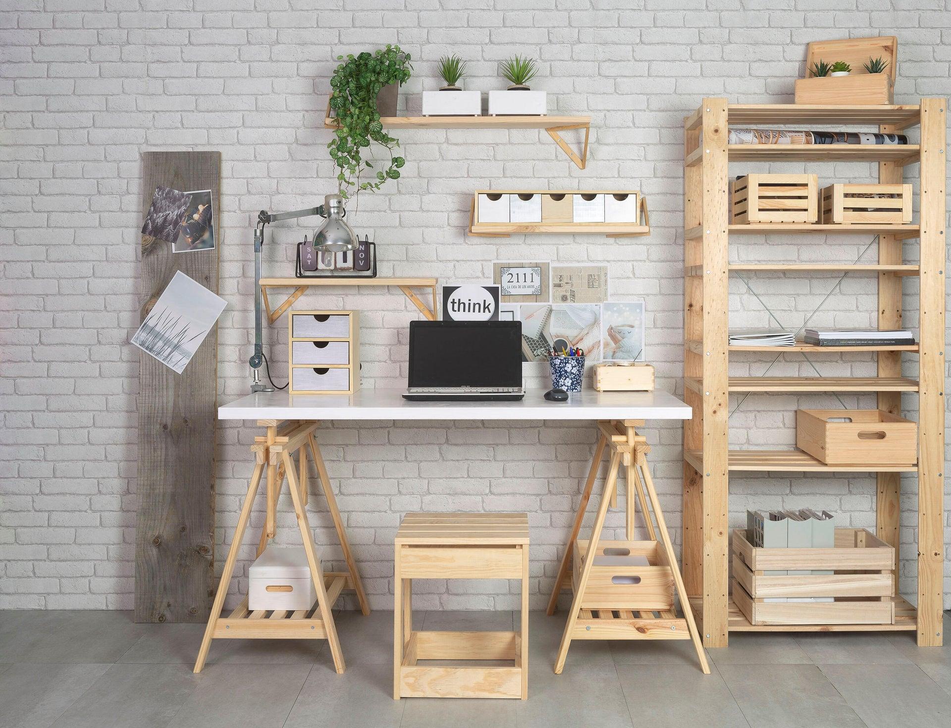 Scaffale in legno in kit L 76.7 x P 43 x H 174.2 cm naturale - 9