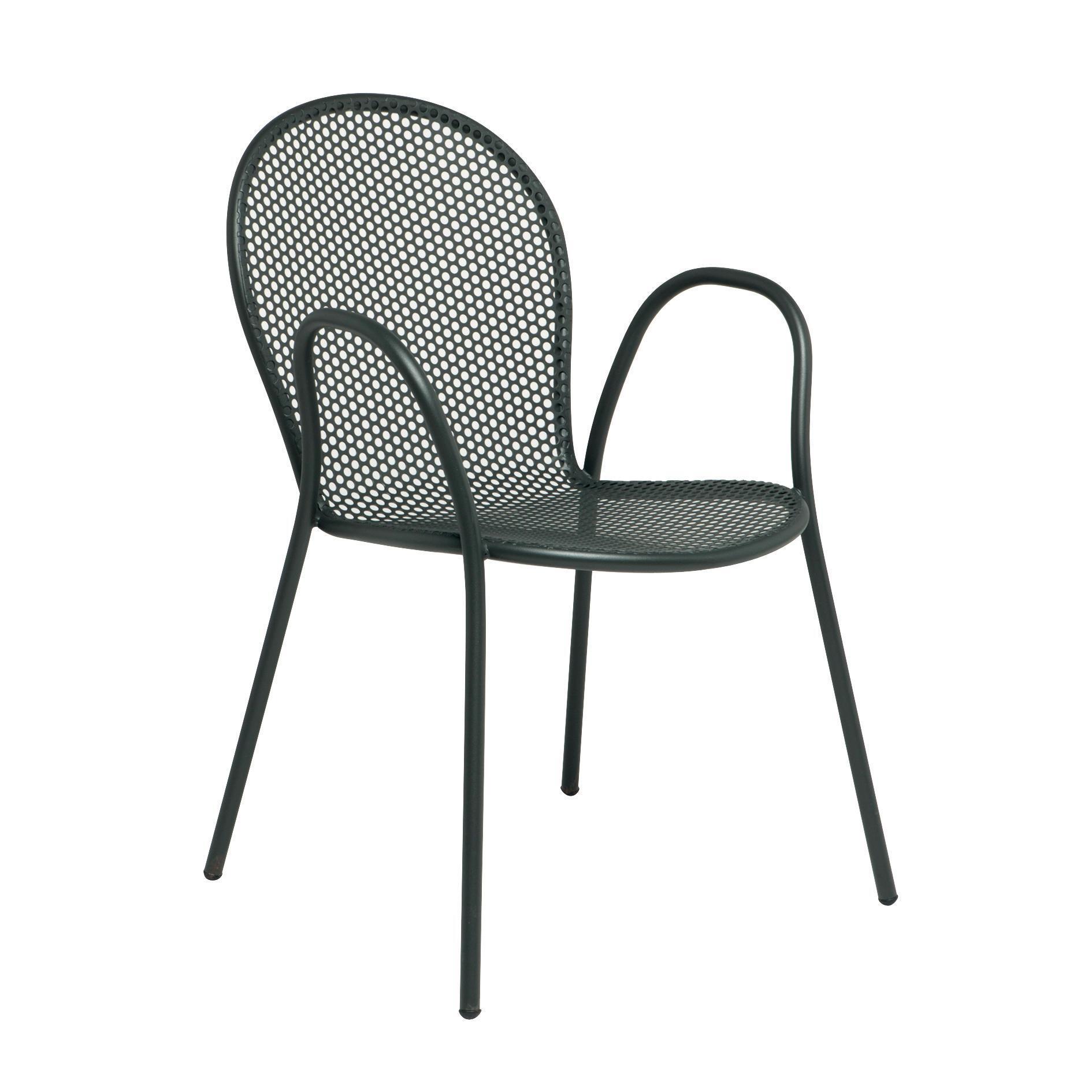 Sedia con braccioli senza cuscino Pavesino colore antracite - 1
