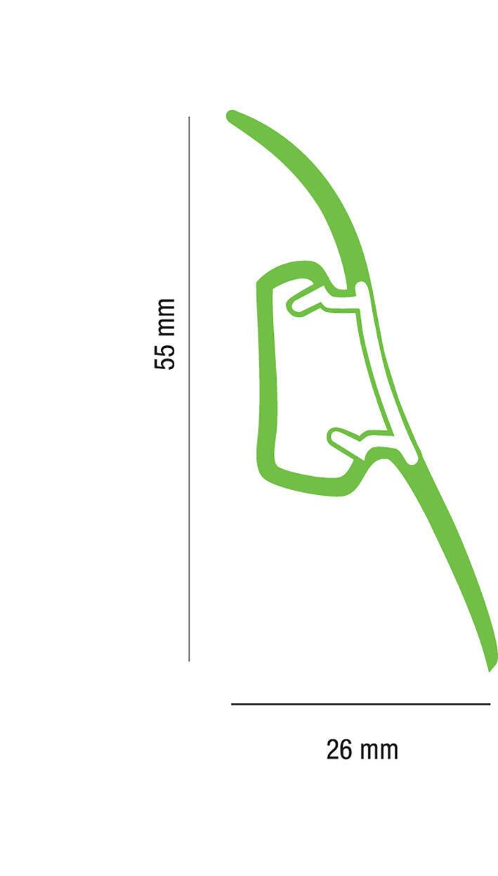 Battiscopa Multifunzione H 5.5 cm x L 2.5 m grigio chiaro - 3