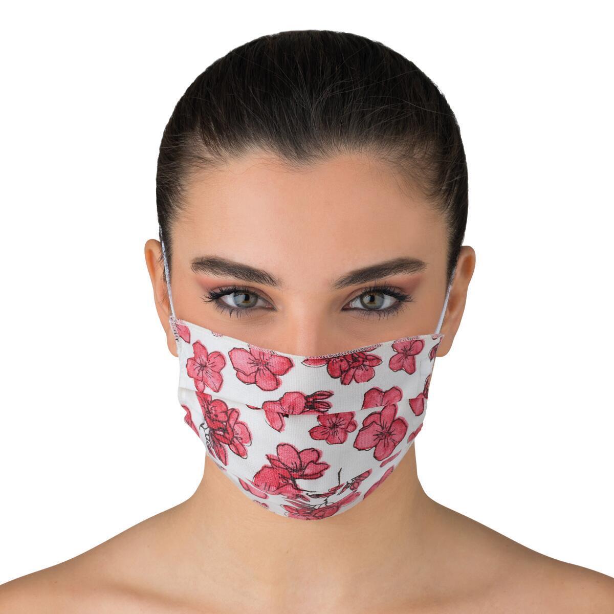 Maschera in tessuto lavabile per utilizzo non sanitario Flower 2 pezzi - 2