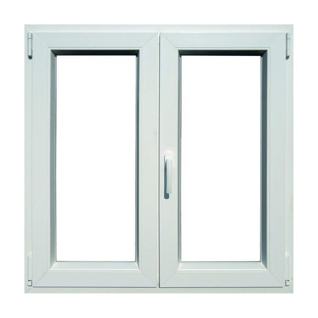 Finestra in pvc bianco L 120 x H 120 cm, 2 ante oscillo-battente apertura destra - 1