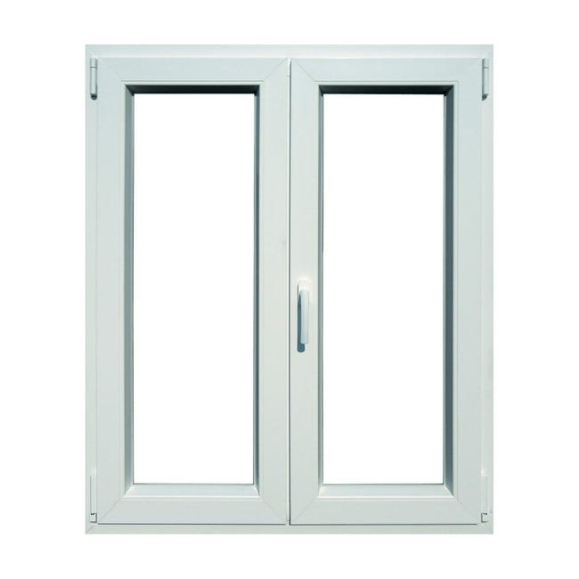 Finestra in pvc bianco L 100 x H 120 cm, 2 ante oscillo-battente apertura destra - 1