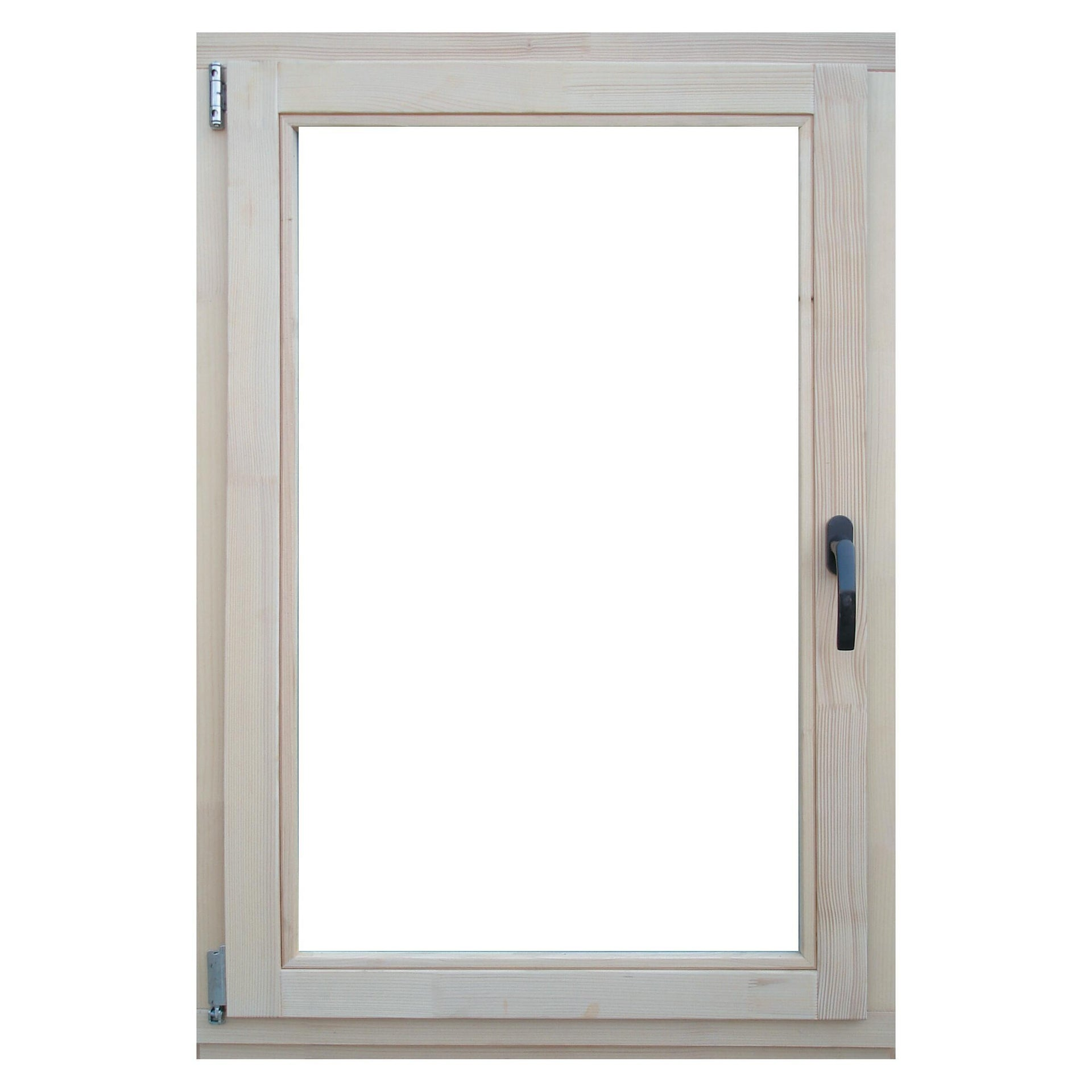 Finestra in legno pino naturale L 80 x H 120 cm, 1 anta oscillo-battente apertura sinistra