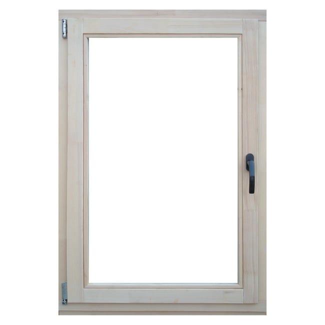 Finestra in legno pino naturale L 80 x H 120 cm, 1 anta oscillo-battente apertura sinistra - 1