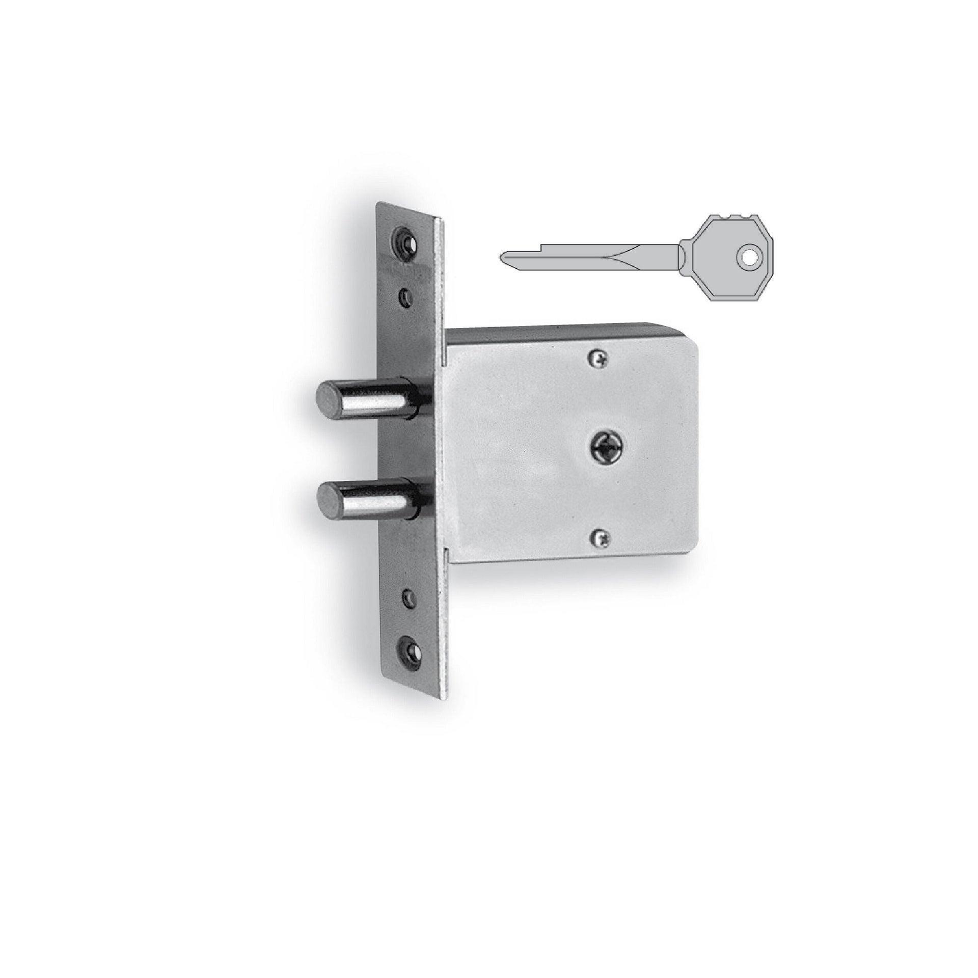 Serratura a incasso cilindro per cancello o rete, entrata 6 cm, interasse 0 mm