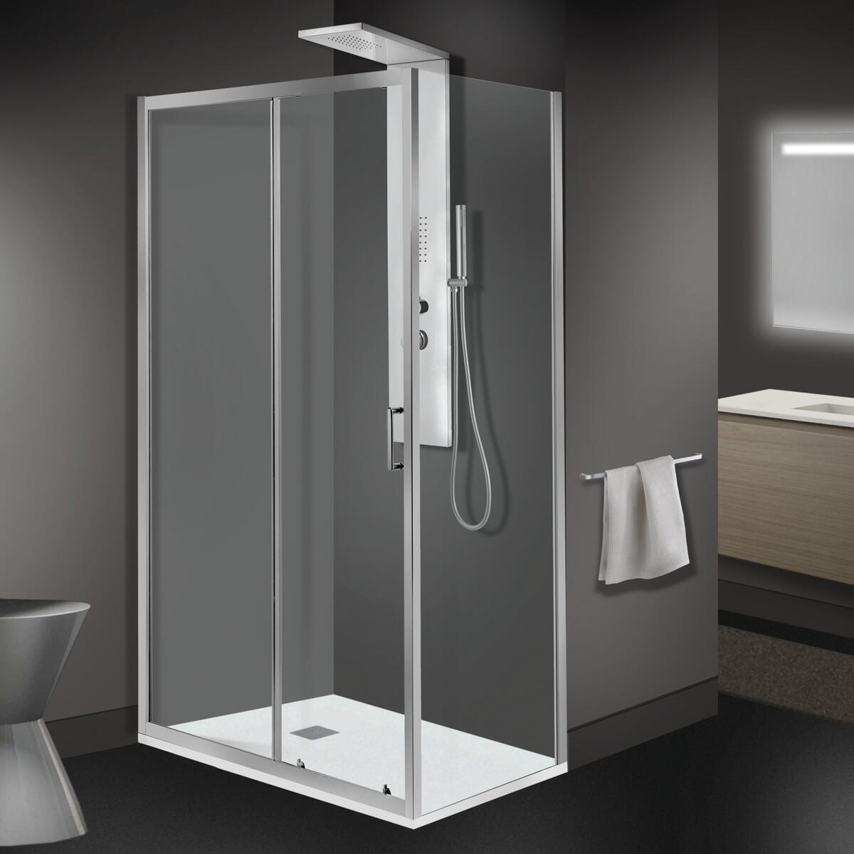 Porta doccia 1 anta fissa + 1 anta scorrevole ZESC 120 cm, H 190 cm in vetro temprato, spessore 6 mm trasparente cromato - 1