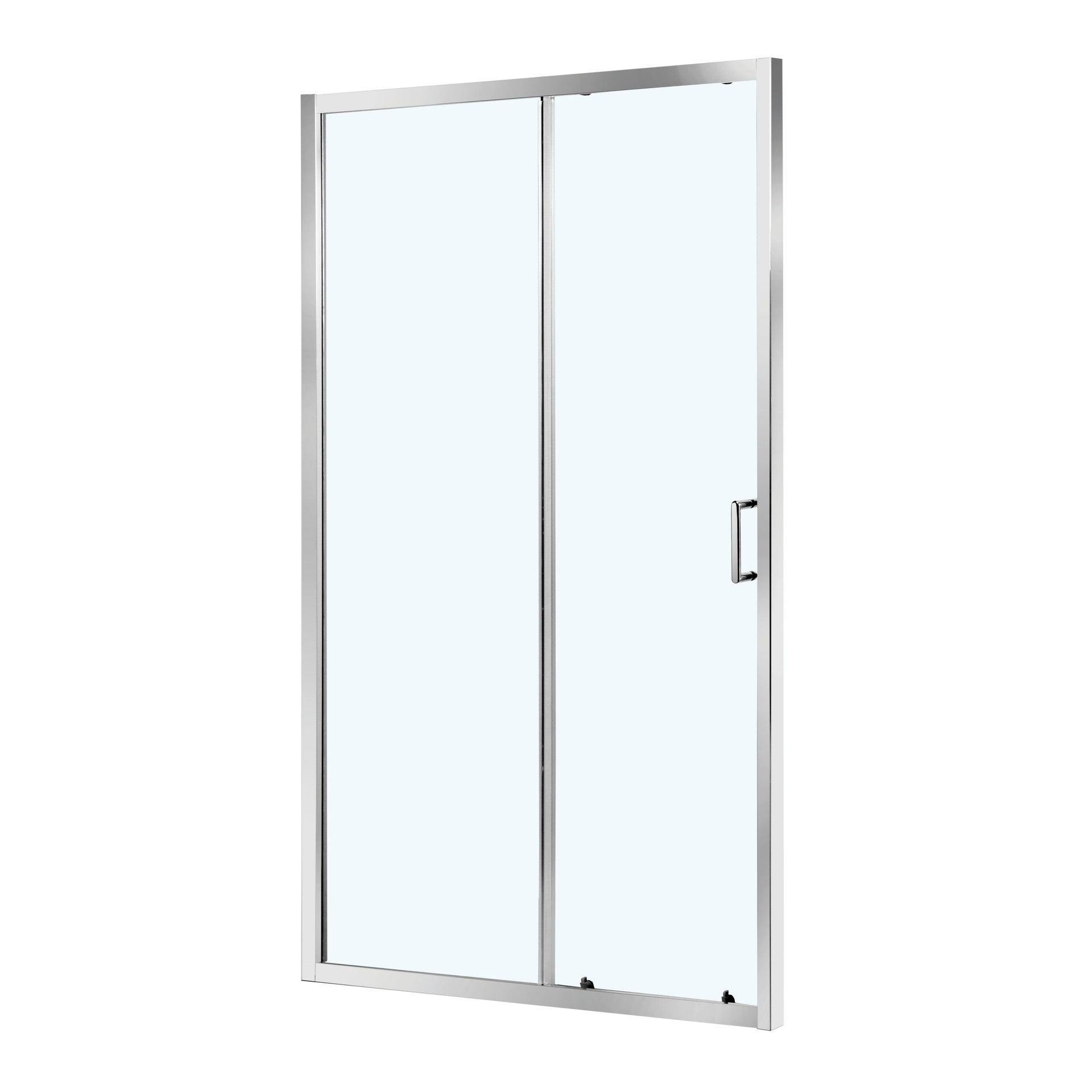 Porta doccia 1 anta fissa + 1 anta scorrevole ZESC 120 cm, H 190 cm in vetro temprato, spessore 6 mm trasparente cromato - 4