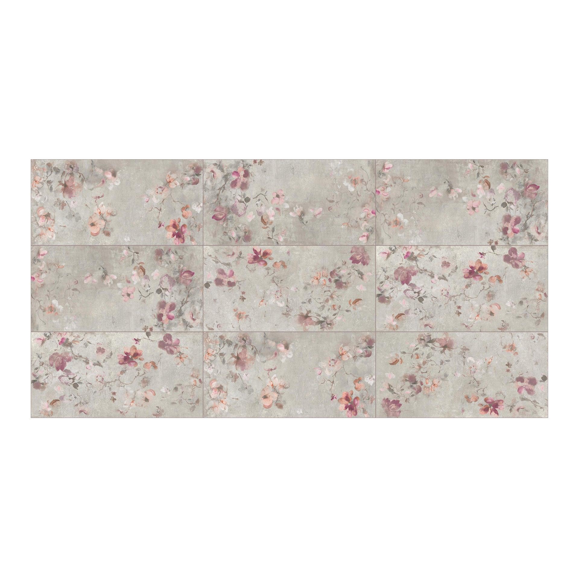 Piastrella City Grey Decoro Flower 60 x 120 cm sp. 9.5 mm PEI 4/5 grigio - 10