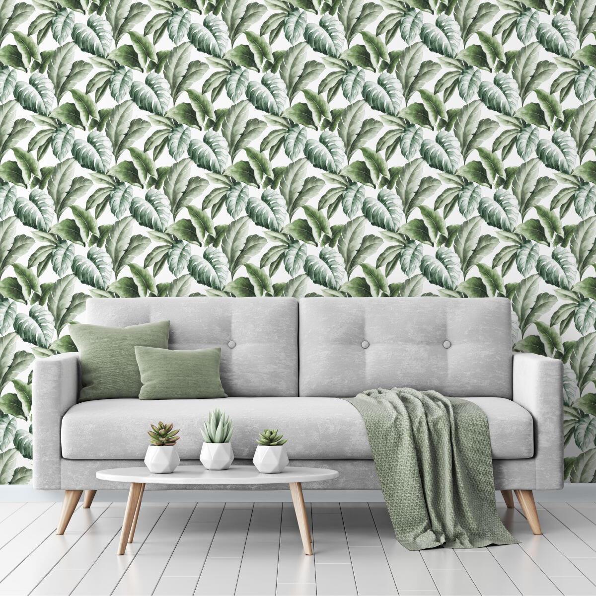 Carta da parati Foglie tropicali verde, 53 cm x 10 m - 1