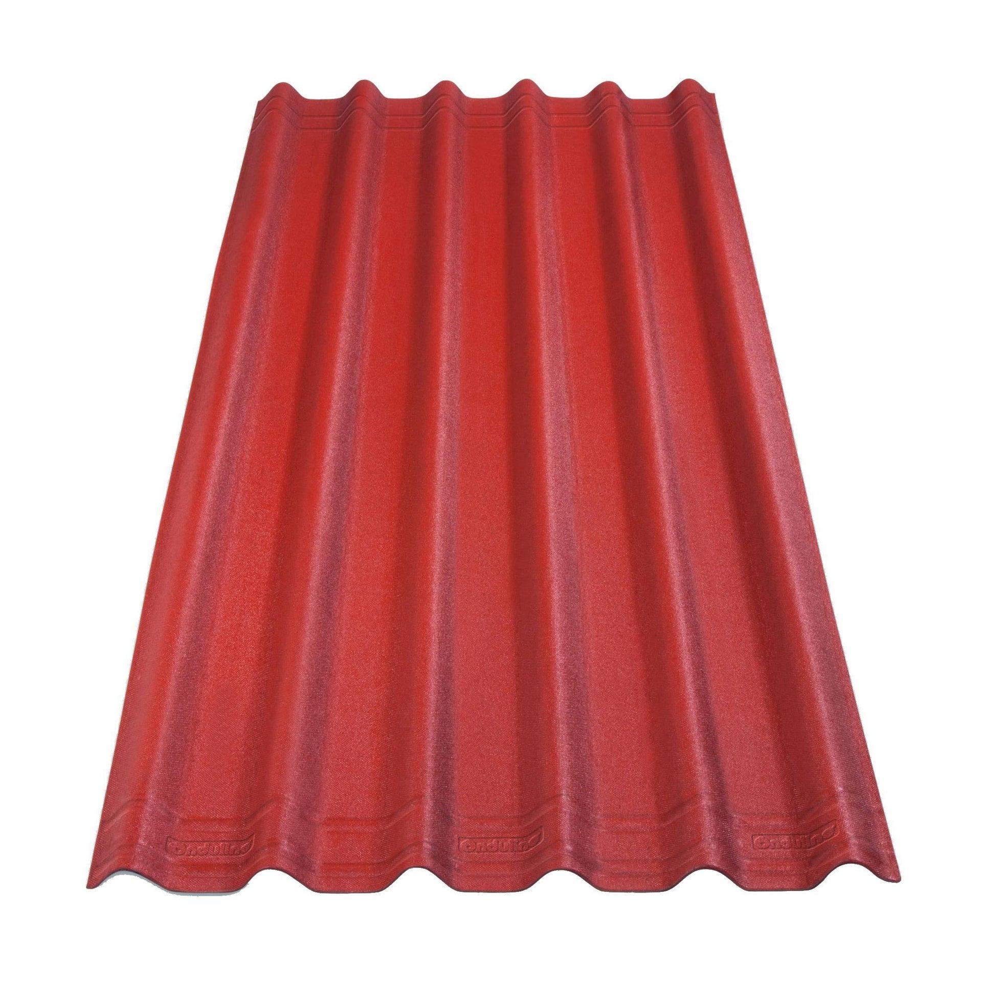 Piastra Asfalto Esterno ONDULINE Easyfix in bitume 0.81 x 2 m rosso - 1