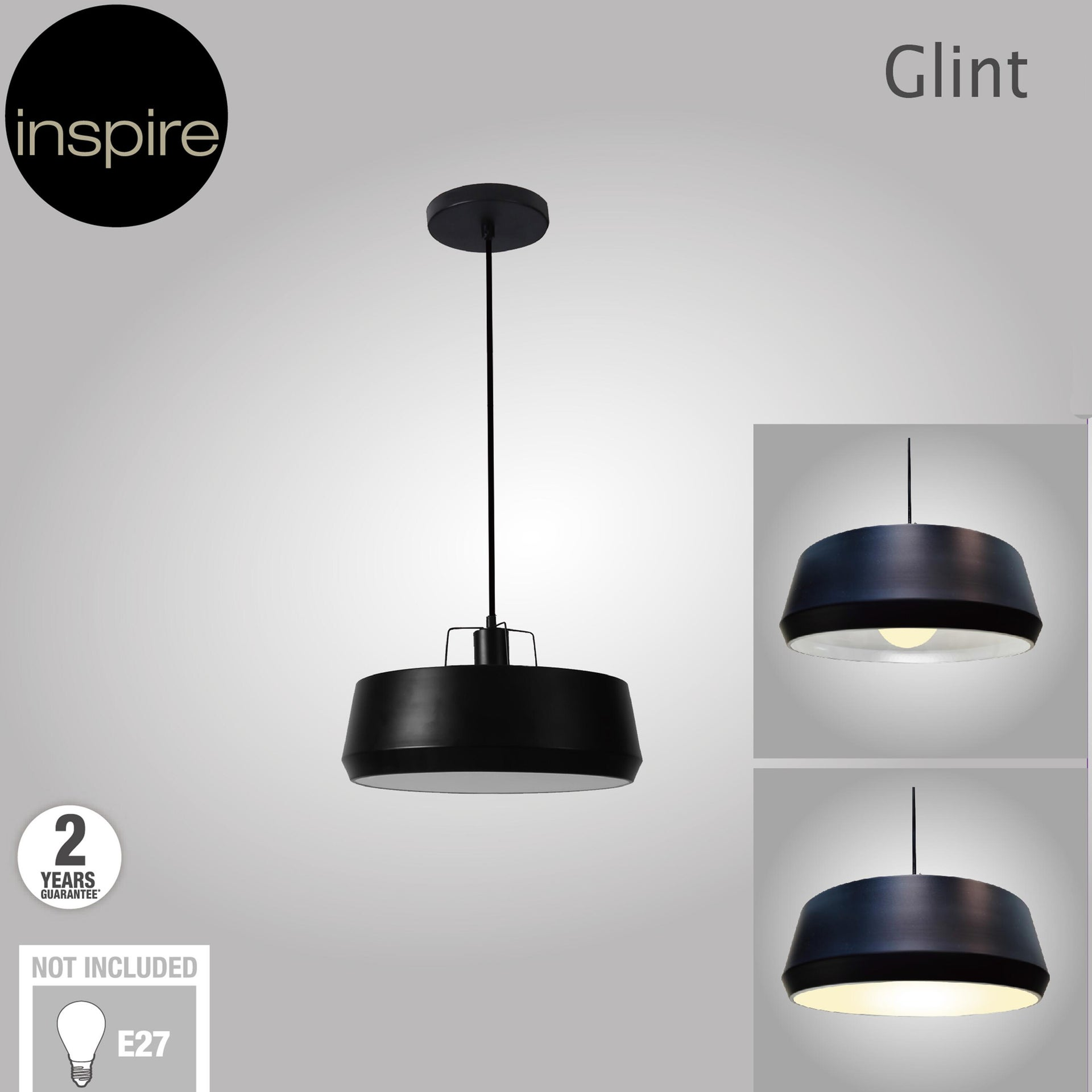 Lampadario Industriale Glint nero in metallo, D. 35 cm, L. 32 cm, INSPIRE - 5