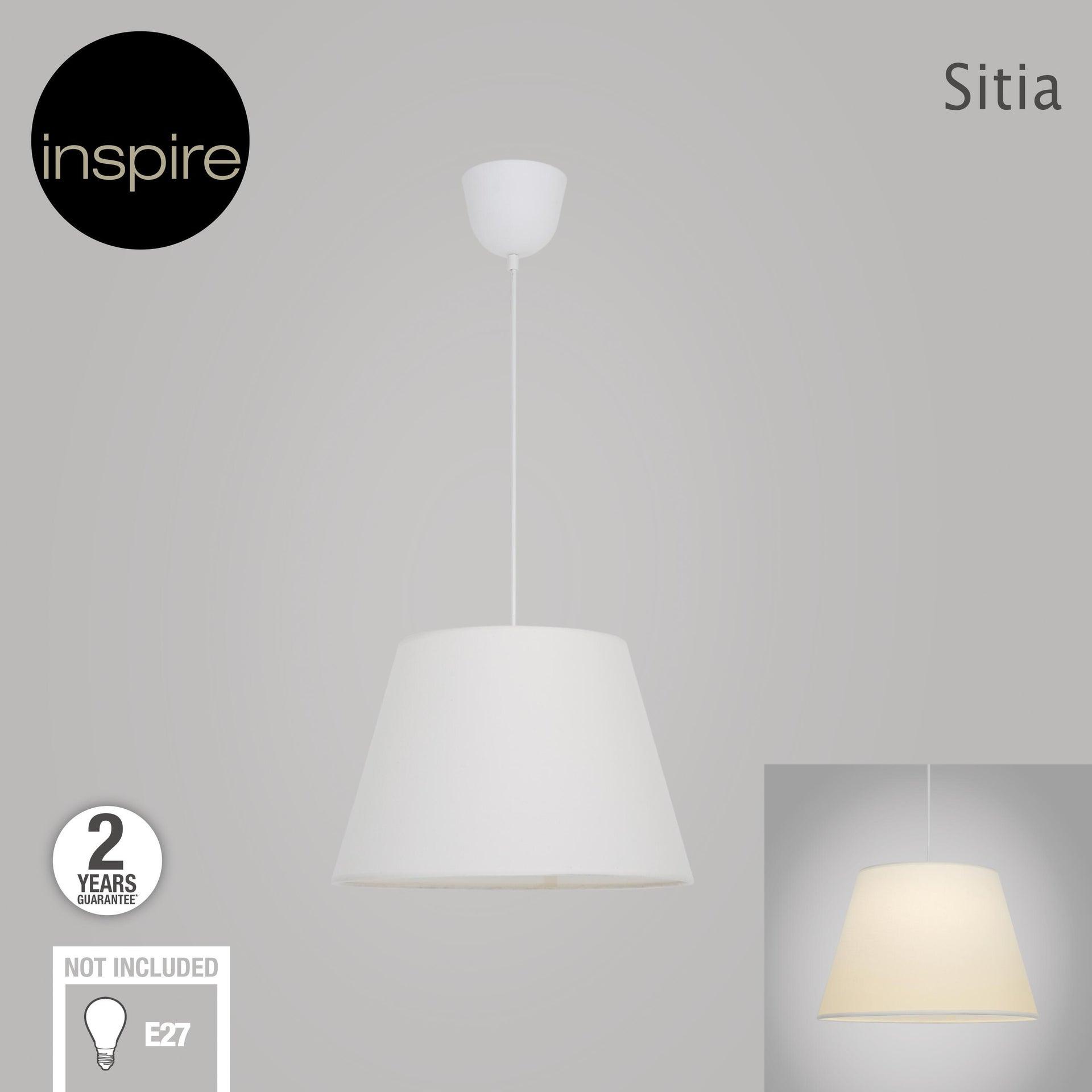 Lampadario Moderno Sitia bianco in tessuto, D. 38 cm, L. 25 cm, INSPIRE - 2