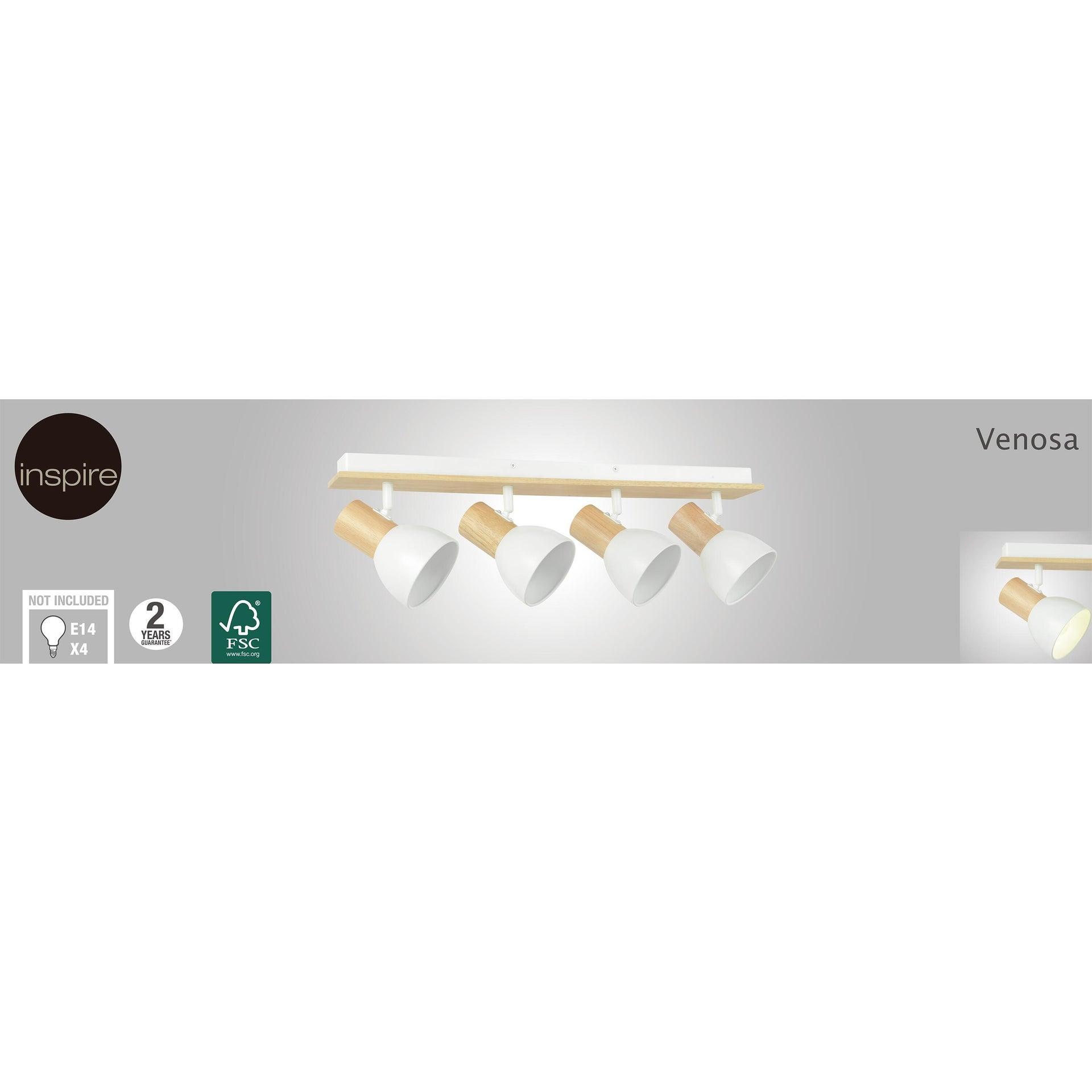 Faretto a muro Venosa bianco/legno, in metallo, E14 4xIP20 INSPIRE - 3