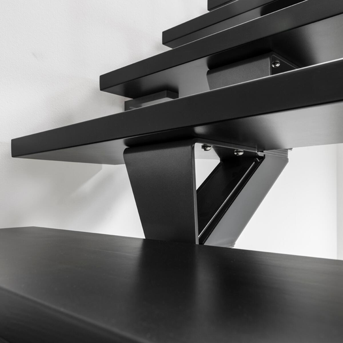 Scala a rampa 1/4 di giro Mas FONTANOT L 85 cm, gradino grigio antracite scuro, struttura antracite - 14