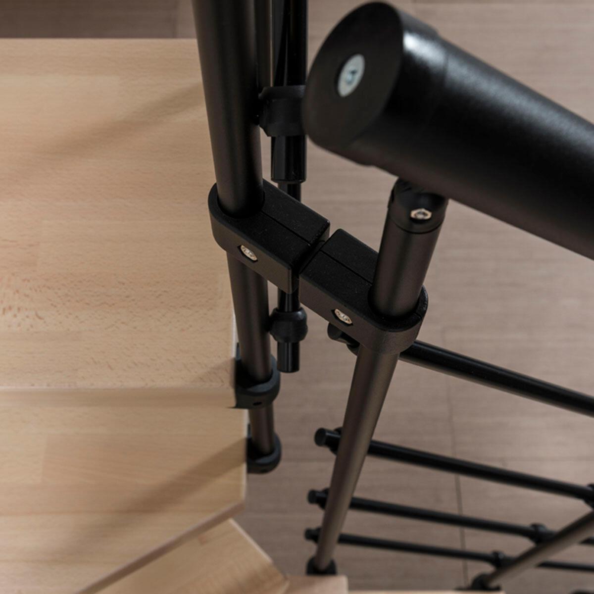 Scala a rampa 1/4 di giro Mas 050 PVC FONTANOT L 75 cm, gradino naturale, struttura nero - 6
