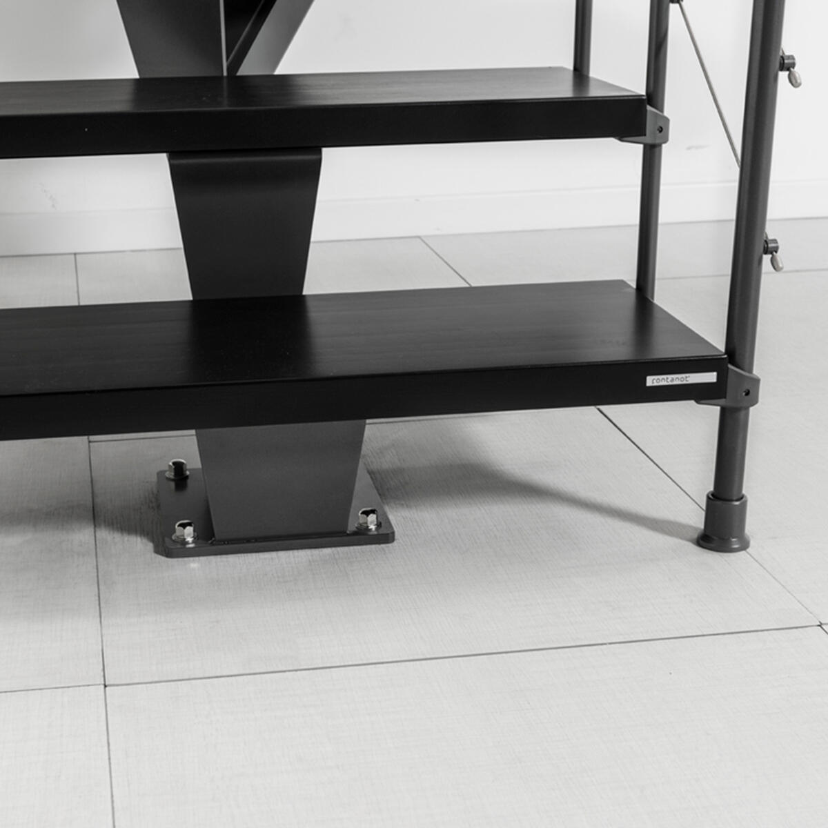 Scala a rampa 1/4 di giro Mas FONTANOT L 85 cm, gradino grigio antracite scuro, struttura antracite - 20
