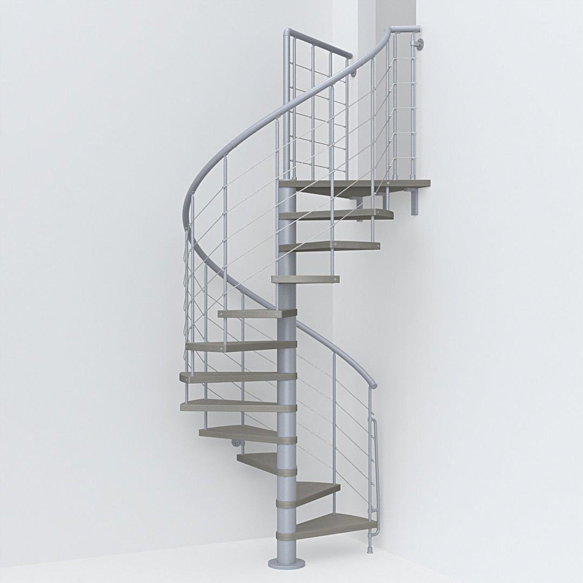 Scala a chiocciola tonda Symphonie FONTANOT L 120 cm, gradino tortora, struttura grigio
