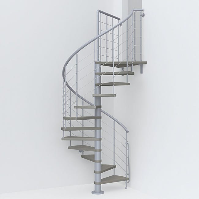 Scala a chiocciola tonda Symphonie FONTANOT L 120 cm, gradino tortora, struttura grigio - 1
