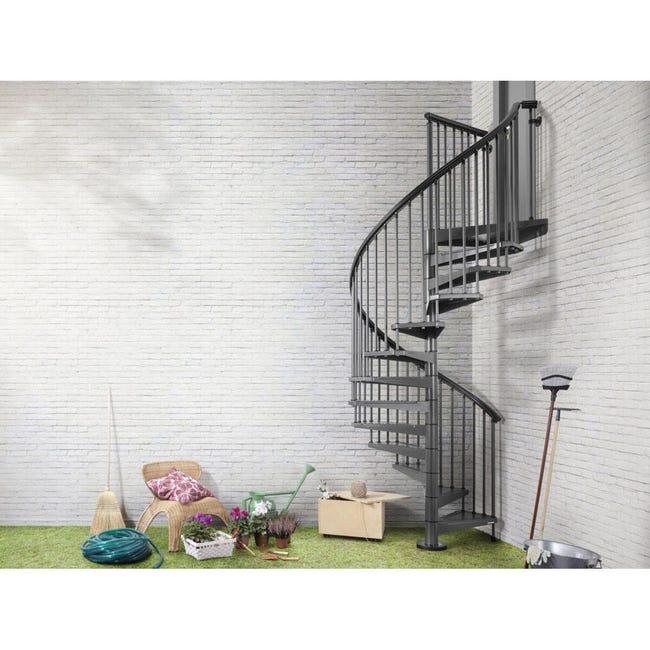 Scala a chiocciola tonda Lucia FONTANOT L 140 cm, gradino antracite, struttura antracite - 1