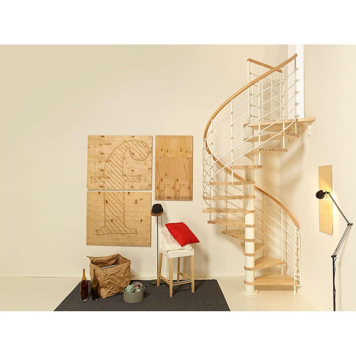 Scala a chiocciola tonda Inside FONTANOT L 140 cm, gradino naturale, struttura bianco - 1