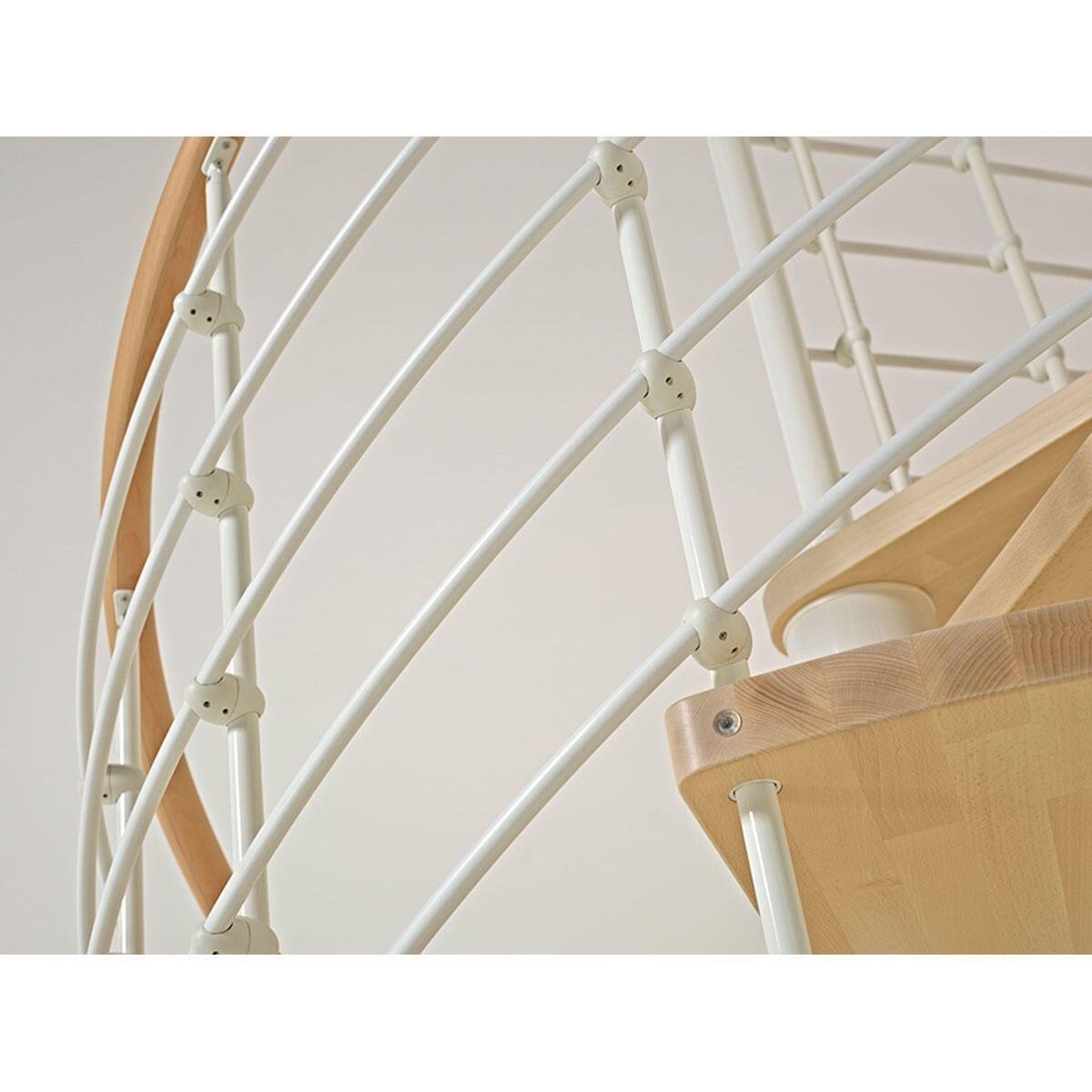 Scala a chiocciola tonda Inside FONTANOT L 140 cm, gradino naturale, struttura bianco - 2