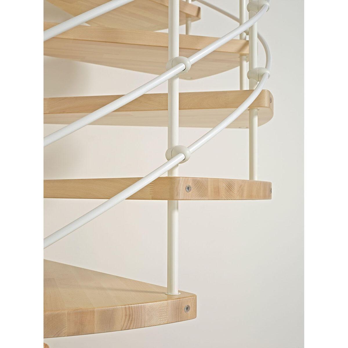 Scala a chiocciola tonda Inside FONTANOT L 120 cm, gradino naturale, struttura bianco - 3