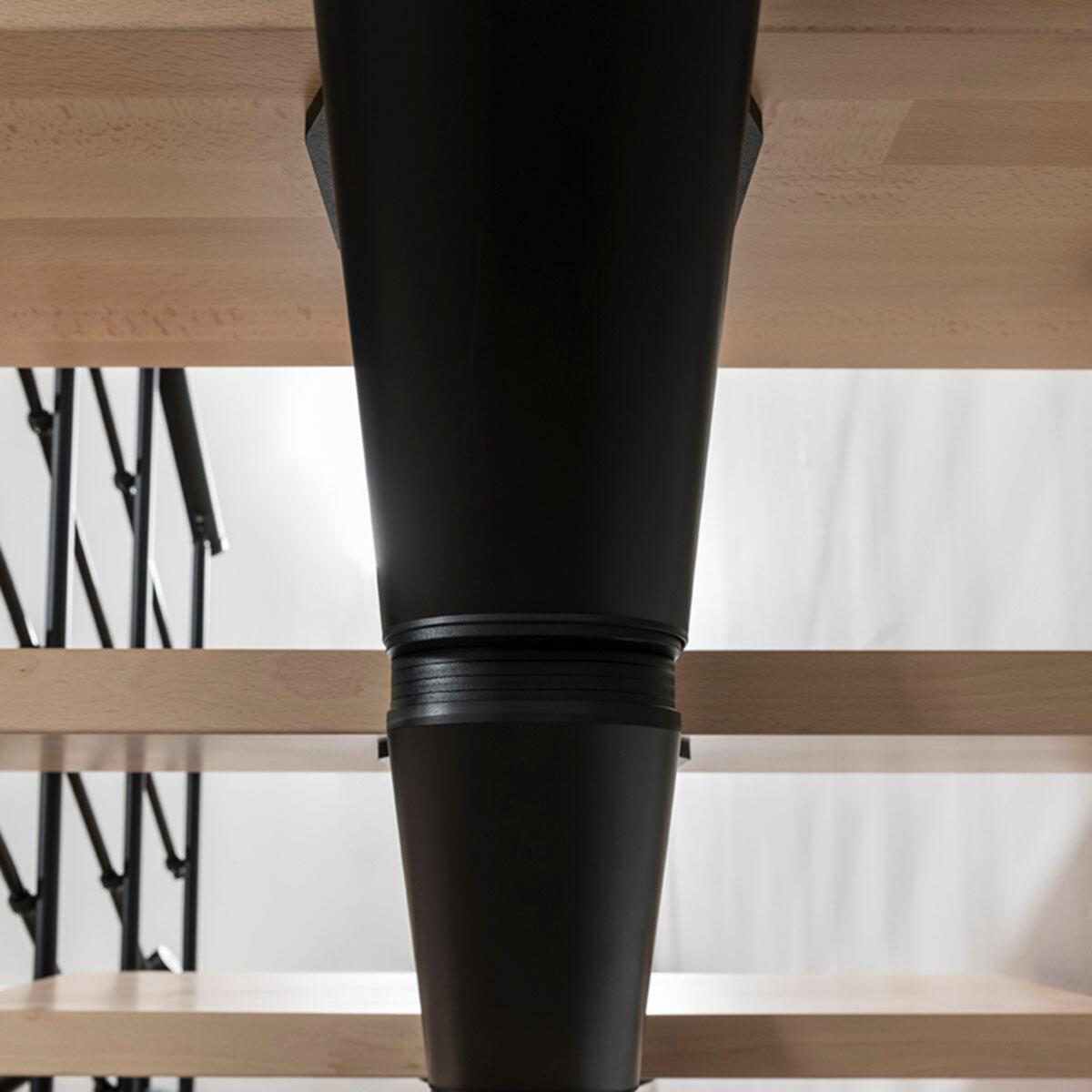 Scala a rampa 1/4 di giro Mas 050 PVC FONTANOT L 75 cm, gradino naturale, struttura nero - 7