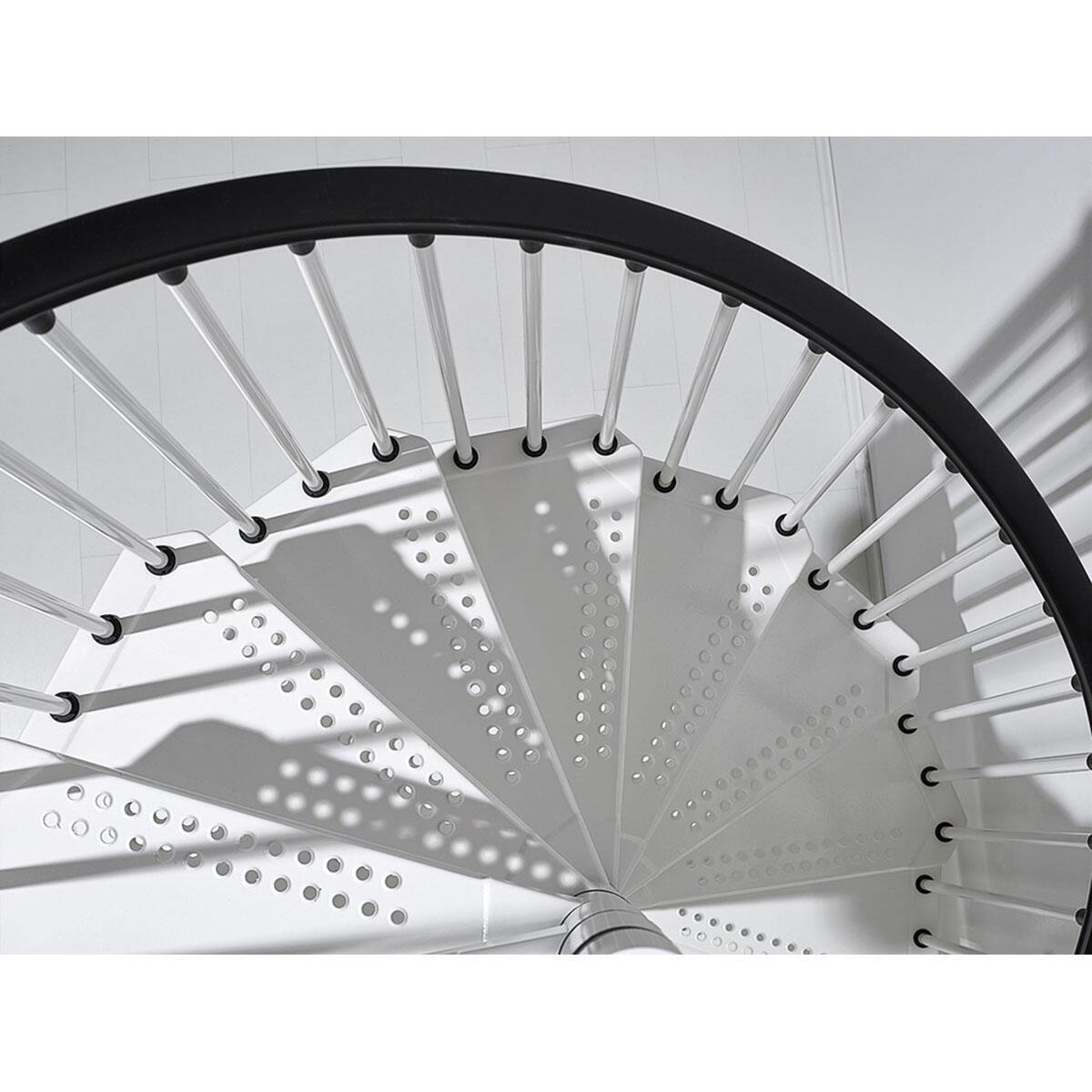 Scala a chiocciola tonda Lucia FONTANOT L 160 cm, gradino bianco, struttura bianco - 8