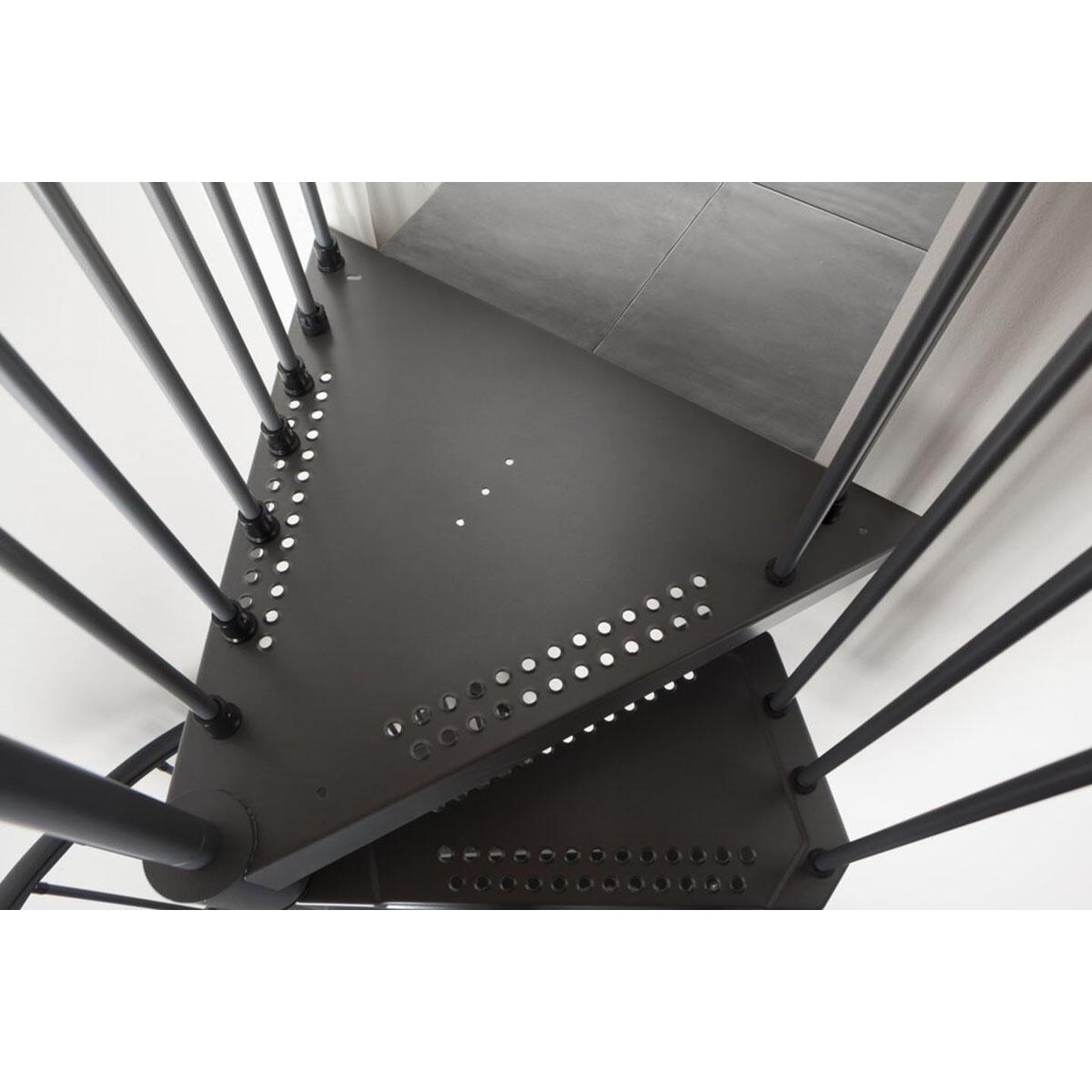 Scala a chiocciola tonda Lucia FONTANOT L 160 cm, gradino antracite, struttura antracite - 2