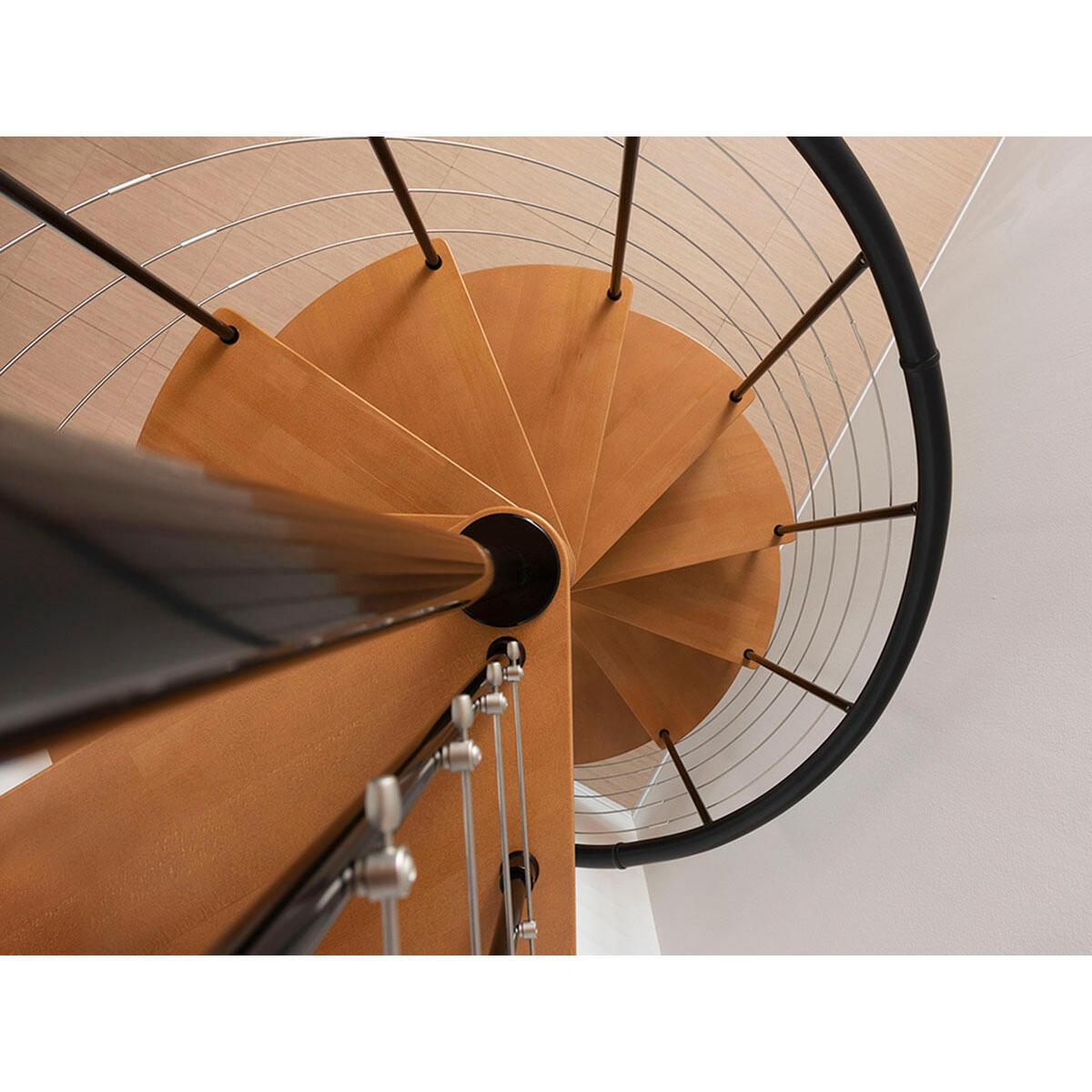 Scala a chiocciola tonda Symphonie FONTANOT L 160 cm, gradino noce, struttura nero - 3