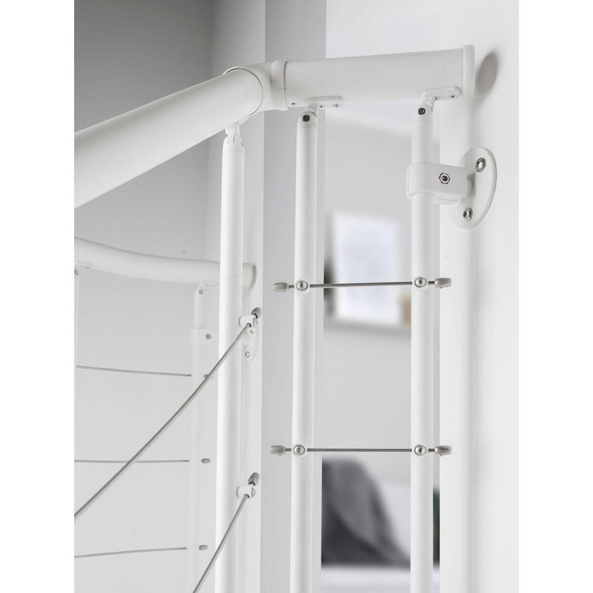 Scala a chiocciola tonda Gexi FONTANOT L 120 cm, gradino bianco, struttura bianco - 12