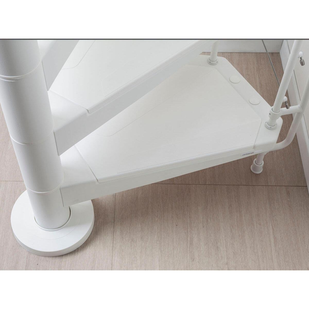 Scala a chiocciola tonda Gexi FONTANOT L 140 cm, gradino bianco, struttura bianco - 5