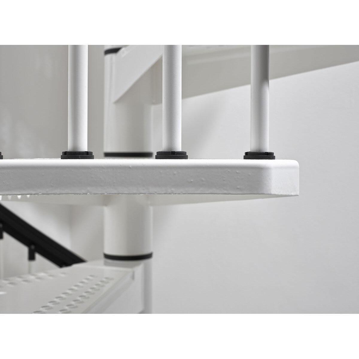 Scala a chiocciola tonda Lucia FONTANOT L 120 cm, gradino bianco, struttura bianco - 4
