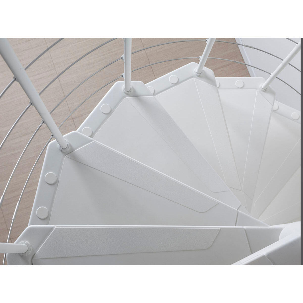 Scala a chiocciola tonda Gexi FONTANOT L 140 cm, gradino bianco, struttura bianco - 4