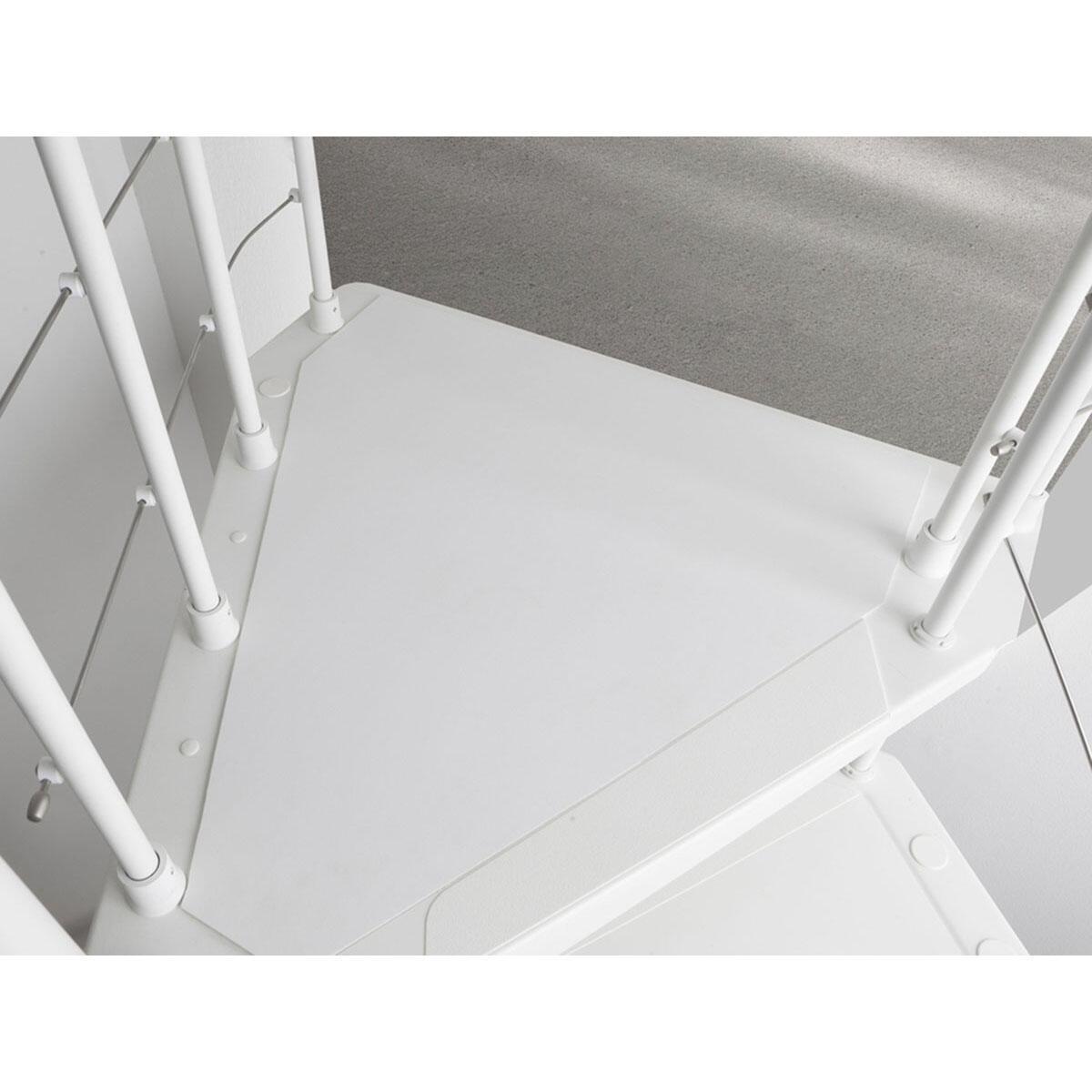 Scala a chiocciola tonda Gexi FONTANOT L 120 cm, gradino bianco, struttura bianco - 5